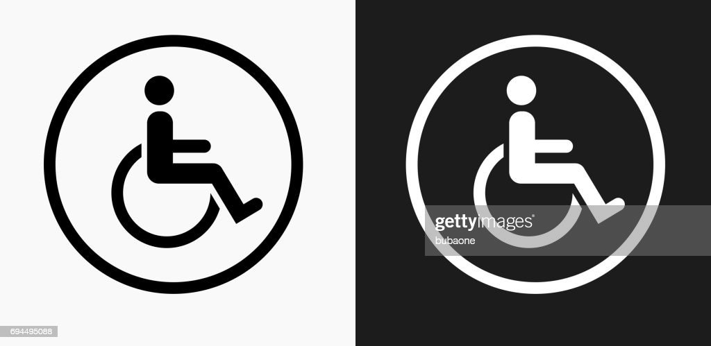Wheelchair Icon on Black and White Vector Backgrounds : Stock Illustration