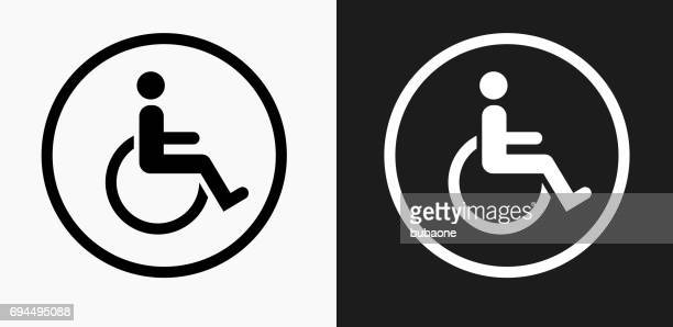 wheelchair icon on black and white vector backgrounds - disability stock illustrations, clip art, cartoons, & icons