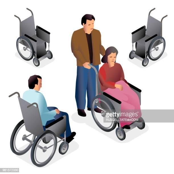 wheelchair isometric - australia day stock illustrations