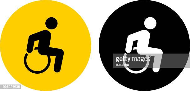 wheelchair man disability icon - disabled sign stock illustrations, clip art, cartoons, & icons