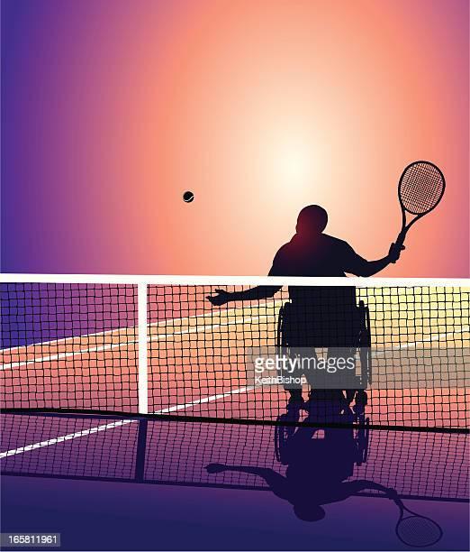 車椅子のご不自由なお客様のためのテニスプレーヤーの背景 - 車いすテニス点のイラスト素材/クリップアート素材/マンガ素材/アイコン素材