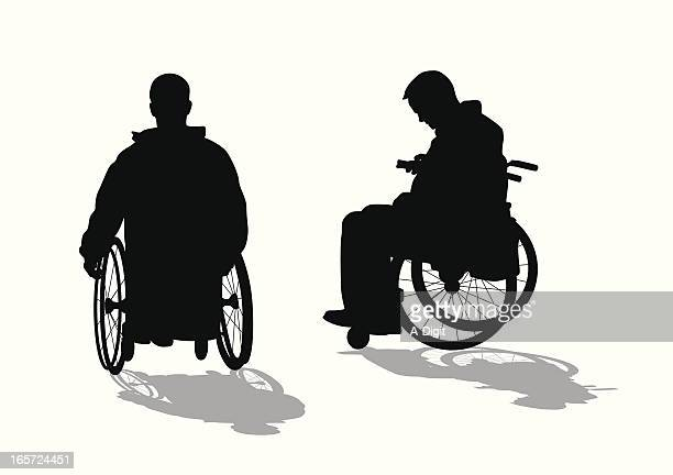 wheelchair thoughts vector silhouette - paralysis stock illustrations, clip art, cartoons, & icons