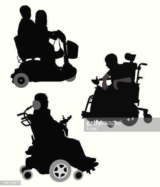 wheelchairs vector silhouette - wheelchair stock illustrations, clip art, cartoons, & icons