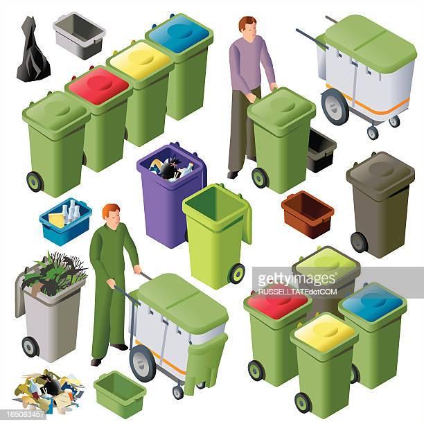 illustrations, cliparts, dessins animés et icônes de wheelie bin groupes iso - poubelle