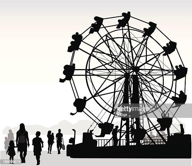 wheelie vector silhouette - ferris wheel stock illustrations, clip art, cartoons, & icons
