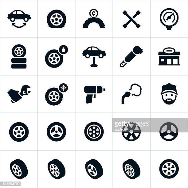 wheels, tires and tire repair icons - land vehicle stock illustrations