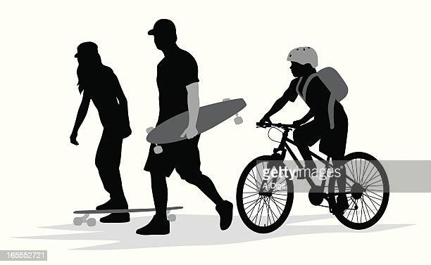 wheels vector silhouette - adolescence stock illustrations