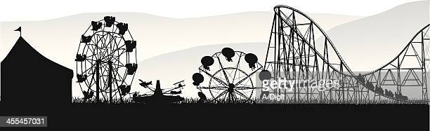 wheels'n deals vector silhouette - carnival ride stock illustrations, clip art, cartoons, & icons