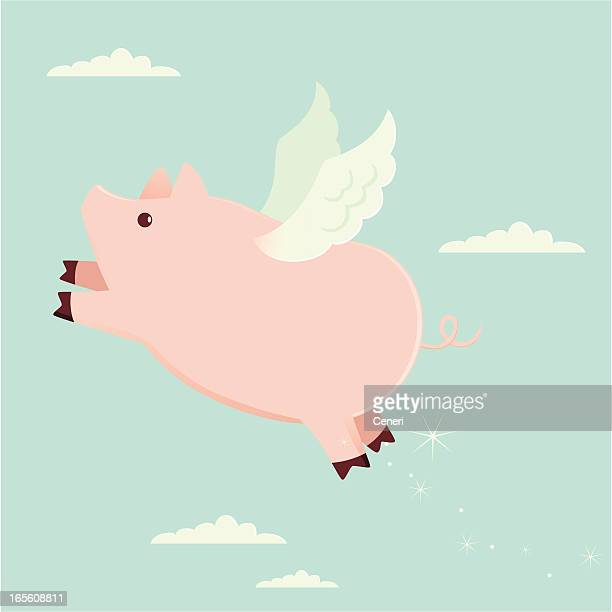 when pigs fly - pig stock illustrations