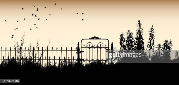 ilustrações, clipart, desenhos animados e ícones de onde a casa costumava ser - cemitério