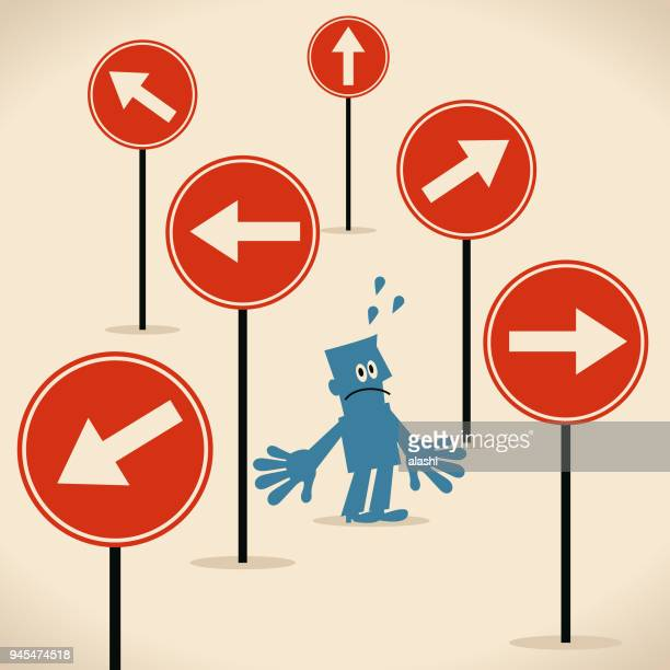 which way concept, businessman with a lot of different directional sign - confusion stock illustrations, clip art, cartoons, & icons
