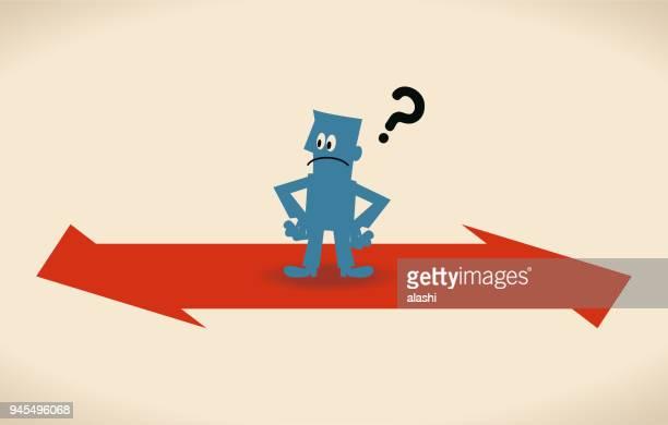 どの方法の概念、2 つの逆方向の符号を持ったビジネスマン - 分かれ道点のイラスト素材/クリップアート素材/マンガ素材/アイコン素材