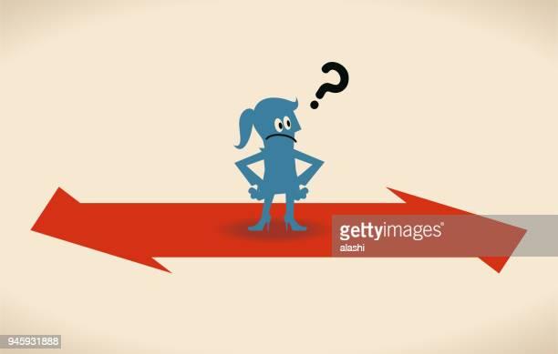 ilustraciones, imágenes clip art, dibujos animados e iconos de stock de que concepto de forma, empresaria con dos signo direccional opuesto - madre trabajadora