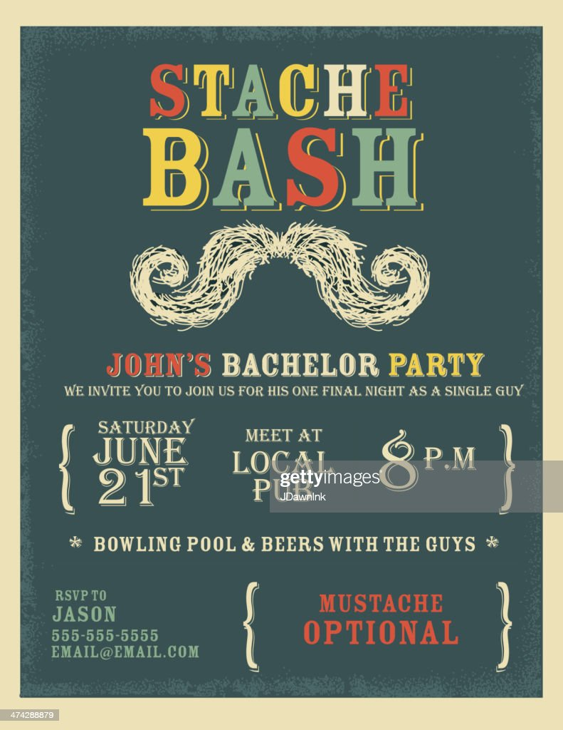 Whimsical And Colorful Bachelor Party Invitation Design Template ...