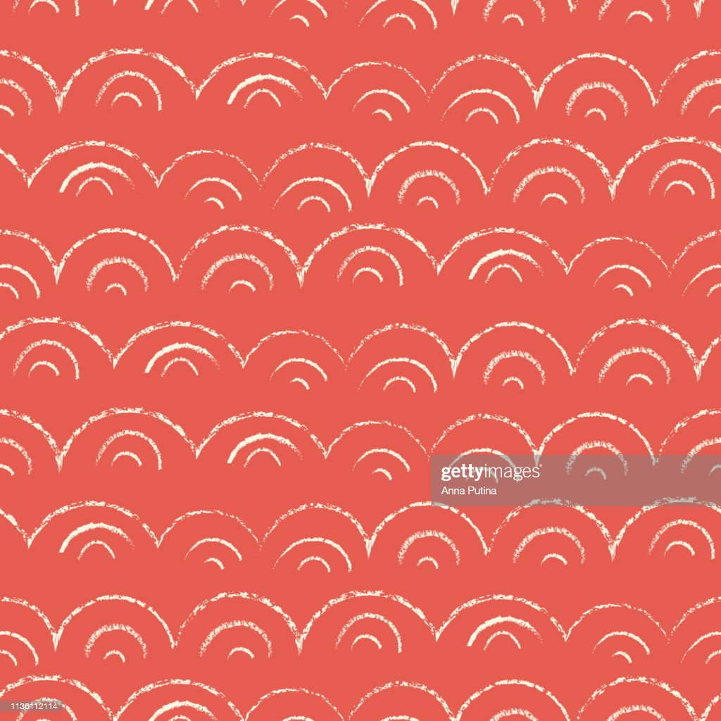 Whimsical and Cute Nautical Hand-Drawn with Crayons, Abstract Sea Waves Vector Seamless Pattern. Red Monochrome Texture