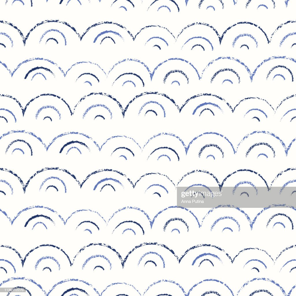 Whimsical and Cute Nautical Hand-Drawn with Crayons, Abstract Sea Waves Vector Seamless Pattern. Monochrome Texture