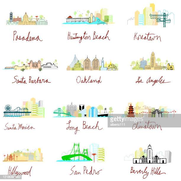 whimsical california cityscape series - oakland california stock illustrations