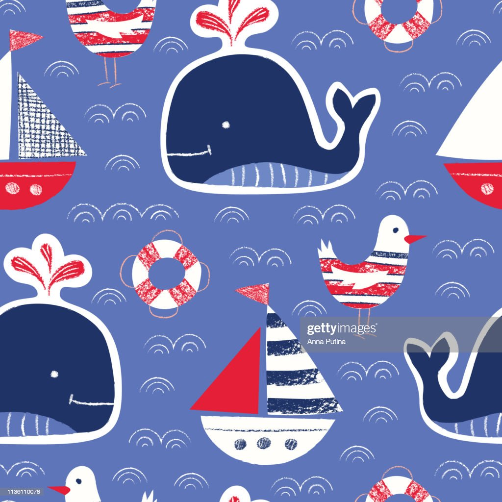 Whimsical Cute, Hand-Drawn with Crayons, Whale, Ship, Seagull, Lifebuoy Vector Seamless Pattern. Blue Background
