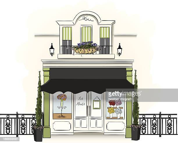 Whimsical illustration of a floristry shop selling flowers