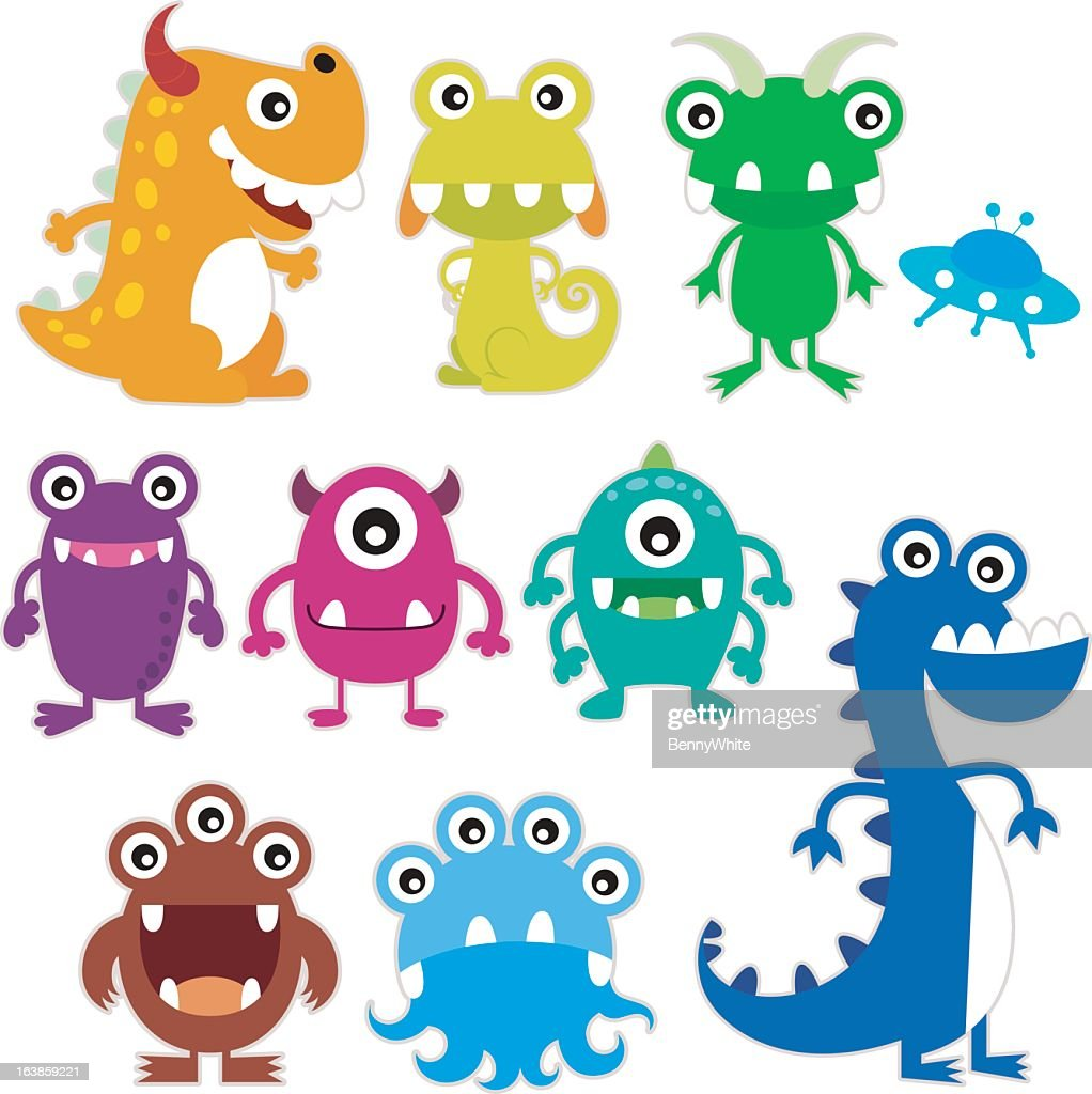 Whimsical illustration of brightly colored, happy monsters