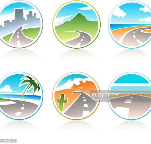 whimsical, scenic, round travel icons with road graphic - dividing line road marking stock illustrations, clip art, cartoons, & icons