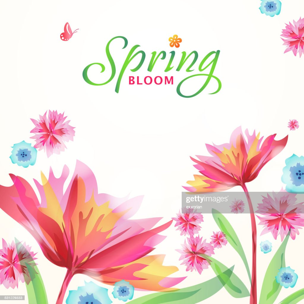 Whimsical Spring Flowers Blooming In Spring Vector Art Getty Images