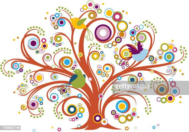 whimsical tree with birds - flowering trees stock illustrations, clip art, cartoons, & icons