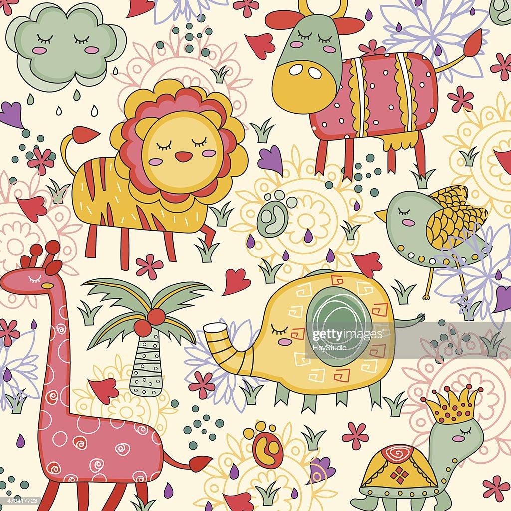 whimsical wild animals illustration