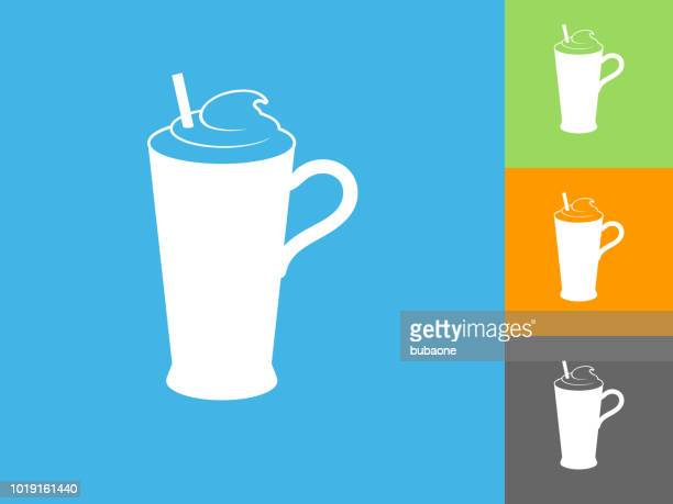 whipped drink  flat icon on blue background - milk chocolate stock illustrations, clip art, cartoons, & icons