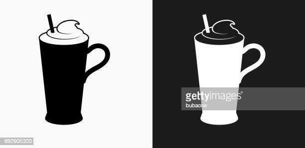 whipped drink icon on black and white vector backgrounds - milk chocolate stock illustrations, clip art, cartoons, & icons