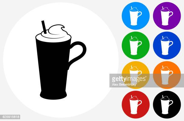 whipped drink icon on flat color circle buttons - milk chocolate stock illustrations, clip art, cartoons, & icons