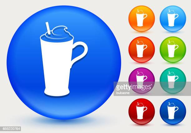 whipped drink icon on shiny color circle buttons - milk chocolate stock illustrations, clip art, cartoons, & icons