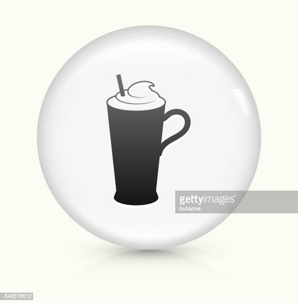 whipped drink icon on white round vector button - milk chocolate stock illustrations, clip art, cartoons, & icons