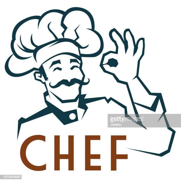 ilustraciones, imágenes clip art, dibujos animados e iconos de stock de bigotudo chef clip art - chef