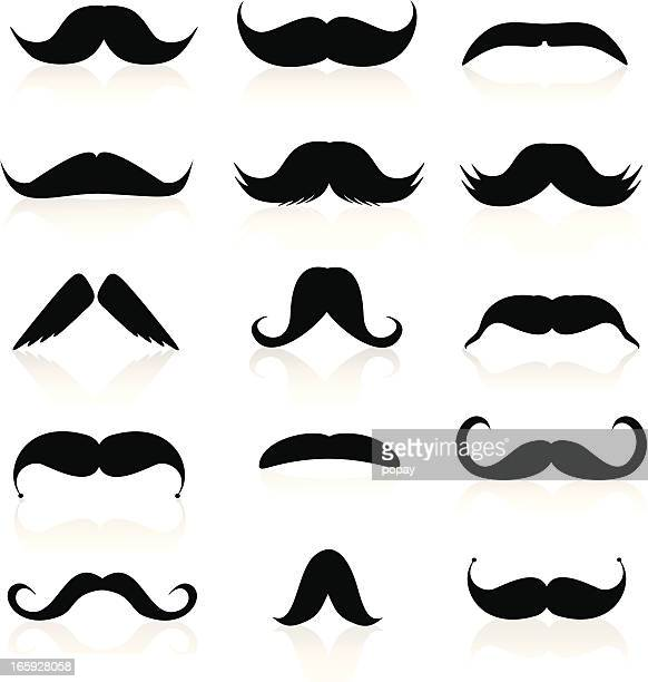 whiskers silhouette - moustache stock illustrations
