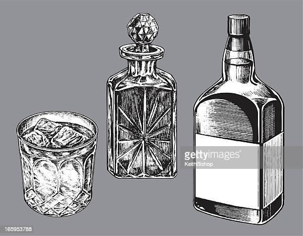 whiskey bottle, caraf and tumbler glass - whiskey stock illustrations