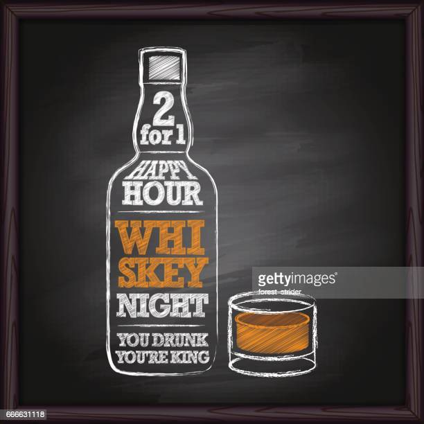 whiskey bottle drawing on chalkboard - vodka stock illustrations, clip art, cartoons, & icons