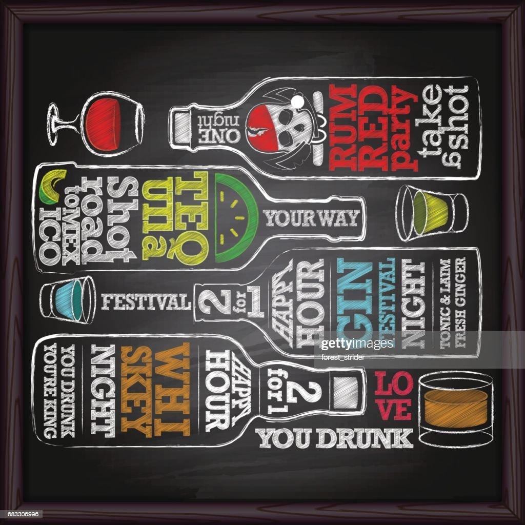Whisky, gin, tequila, garrafa de rum álcool desenho na lousa : Ilustração