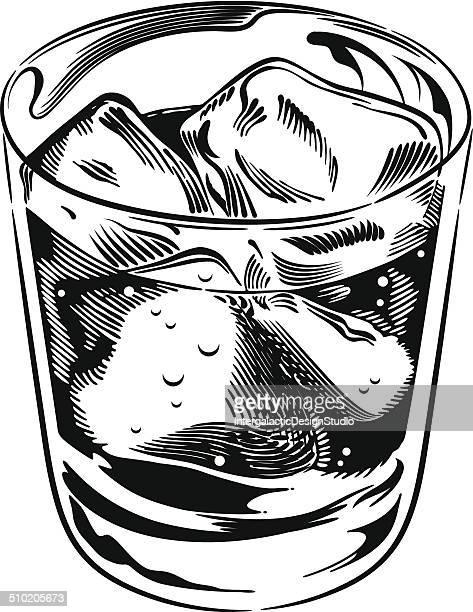 whiskey rocks glass - whiskey stock illustrations