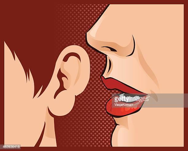 ilustraciones, imágenes clip art, dibujos animados e iconos de stock de susurrar las últimas gossip a amigo-primer plano - oreja humana