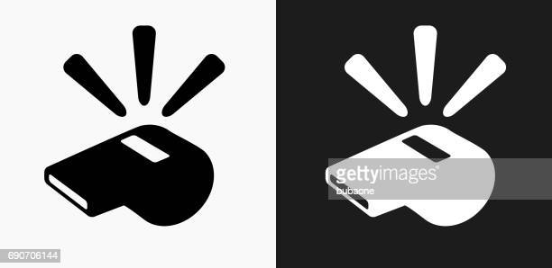 whistle icon on black and white vector backgrounds - match sport stock illustrations, clip art, cartoons, & icons