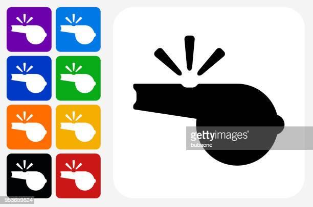 Whistle Icon Square Button Set