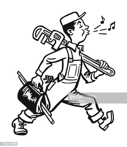 whistling plumber walking to work - plumber stock illustrations, clip art, cartoons, & icons