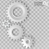 White 3d gears on the transparent gray background