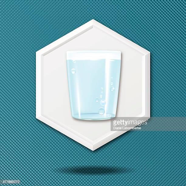 Branco 3D Hexágono no ícone azul Crosshatch fundo