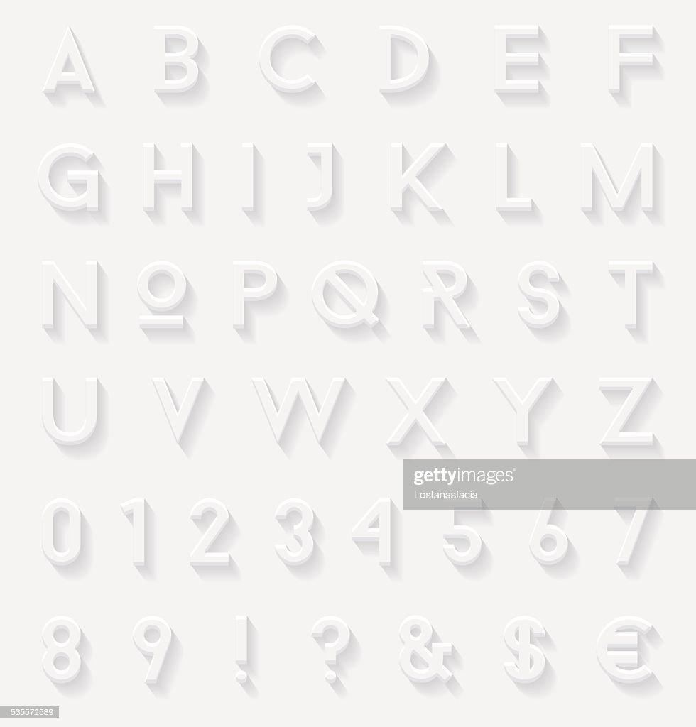 White 3d letters set