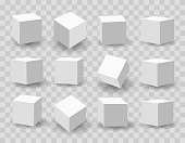 White 3d modeling cubes