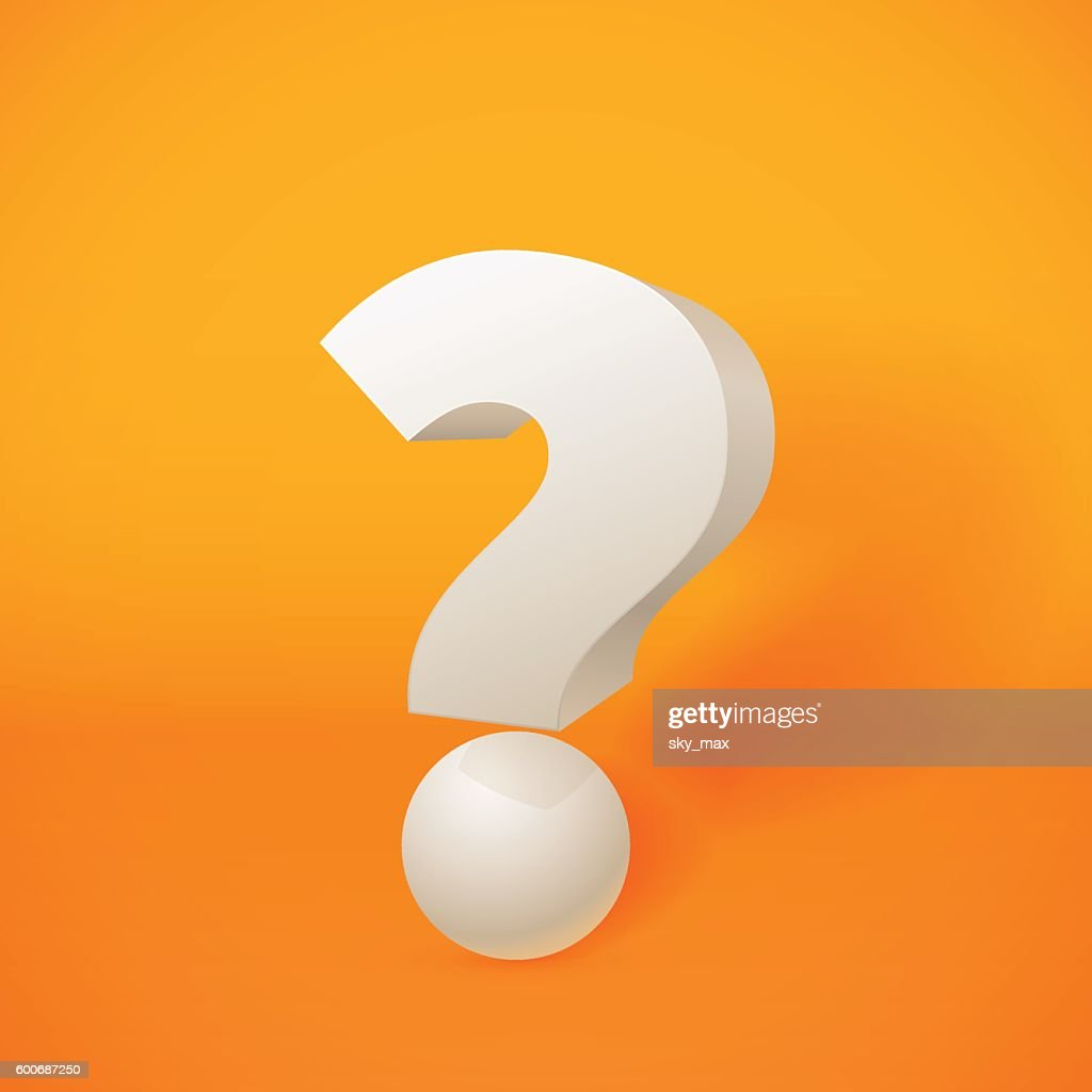 White 3d question mark on orange background