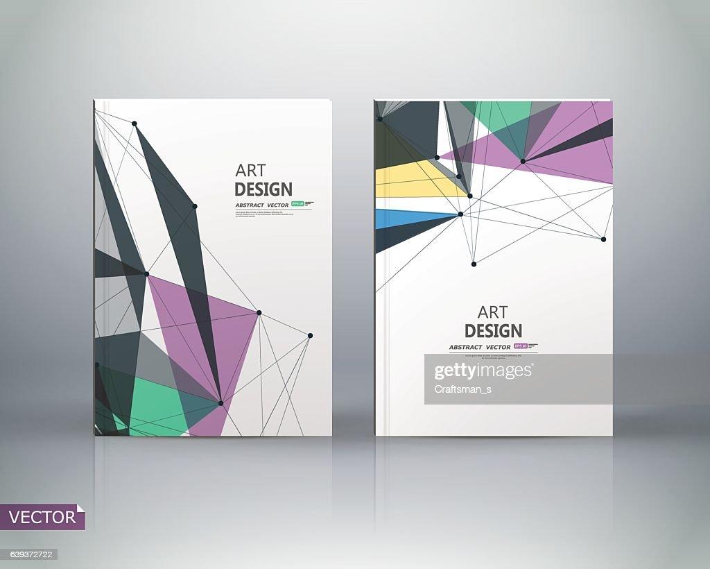 White a4 brochure cover design. Color figures image icon.