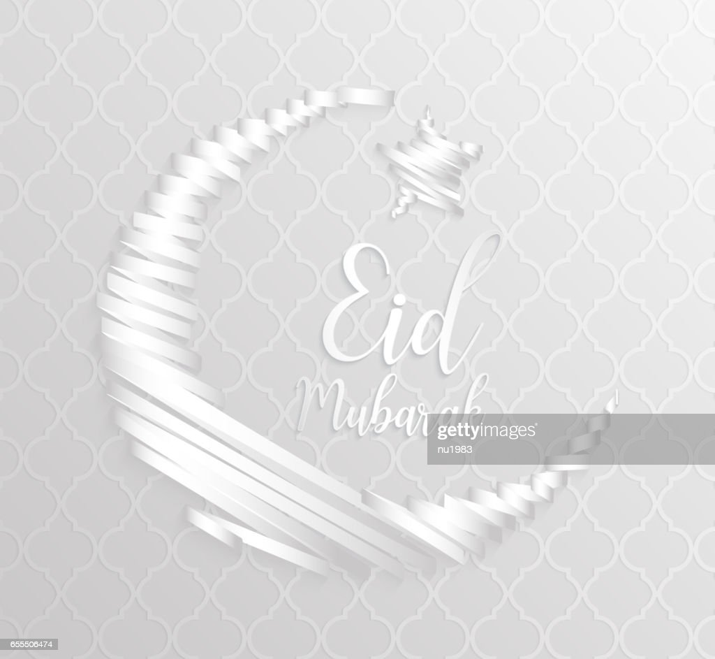 white abstract crescent ribbon moon holiday symbol